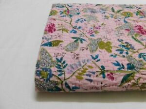 Indian Queen Size Handmade Kantha Paradise Bedspread Gudri Print Vintage Quilt