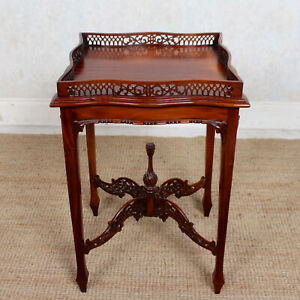 Antique Side Table Carved Mahogany Pierced Gallery