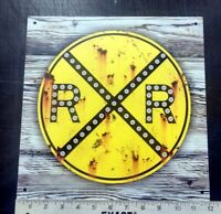 Railroad Crossing crossbuck sign rustic vintage weathered old antique looking
