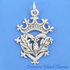 Scottish Thistle Heart And Crown Luckenbooth .925 Solid Sterling Silver Charm