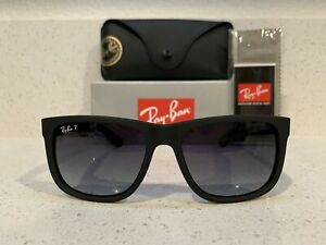New Ray-Ban Classic Justin Black Frame W/ Gray Gradient Polarized Lens RB4165