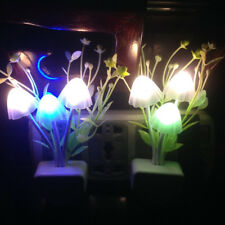 Light Sensor Romantic Flower Mushroom LED Night Baby Bed Room Lamp Decor EU Plug