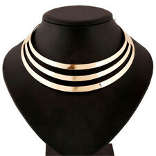 GOLD Choker Necklace Metal Statement Mirrored Thick Party Shiny Collar Big Large