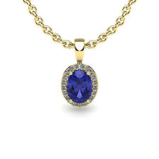 "14K YELLOW OR ROSE GOLD 0.62CT OVAL TANZANITE & HALO DIAMOND PENDANT W/18"" CHAIN"