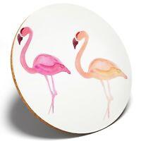 1 x Watercolor Pink Flamingo - Round Coaster Kitchen Student Kids Gift #8141