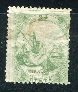 Liberia 1864 Sc 9 Mint No gum 24c Single line frame 6246