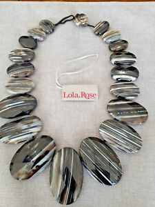 """LOLA ROSE  Persian  BLACK AGATE  TOGGLE STATEMENT NECKLACE NEW QVC 17"""""""