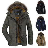 Winter Men's Cotton Coat Thicken Warm Hooded Parka Fur Collar Jacket Outwear