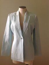 Anne Klein Petite Light Blue Blazer Jacket Coat 4 Button Front Lined Long Sleeve