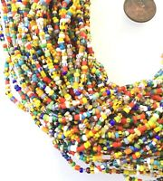 10 Strands Vintage Tiny Christmas Beads Akan Medley African Trade Beads-Ghana