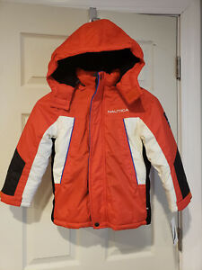 Nautica Boys' (4T) Snorkle Jacket with Rem. Hood Red-White-Black MSRP $110.00