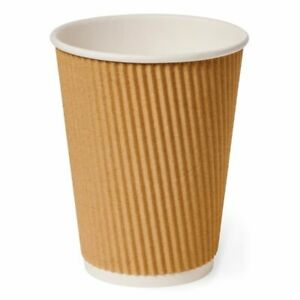 100 X 12oz COFFEE Cup Disposable Paper Coffee Tea Cups Great Value Cafe Takeaway