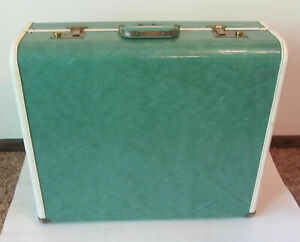 1950s Samsonite Style TOWNCRAFT Marbled GREEN WARDROBE Suitcase BRASS TRIM & KEY