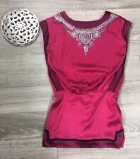 BEBE Hot Pink sz small 100% silk dress beaded front deep V-back mini short Club