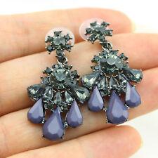 Flower Statement Chandelier Earrings Facted Crystal Purple Teardrop Beaded