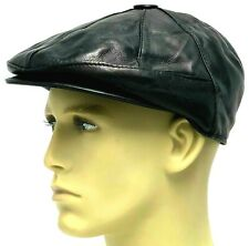 Boys Peaky Blinders 100% Leather Cap Hat Newsboy Gatsby Flat Baker Black Small