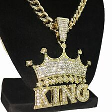 """Crown King Hip Hop Pendant Chain Blinged Out Gold Finish Necklace 30"""" Cuban"""