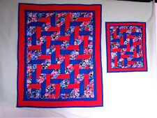 """child & doll ribbon quilts 29"""" x 35"""", 14"""" x 17""""  hand quilted by Aunt Mary"""