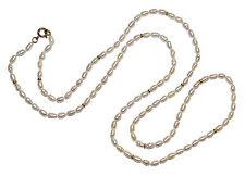 """33 """"COLTIVATE ACQUA DOLCE RISO Pearl necklet con 9 Carati Oro Giallo Perle & Fibbia"""
