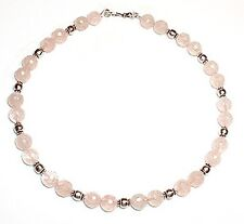 Rose Quartz Necklace with Balinese Silver Beads 16""