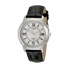 Timex T2P5209J Main Street Men's Stainless Steel Case Textured Leather Watch