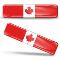 2 x 3D Gel Domed Canada Flag Canadian Maple Leaf Sticker Logo Emblem Badge Decal