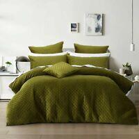 Bianca Alden Super Soft Quilted Velvet Quilt Cover Set Olive Green | Super King