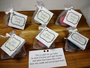 Baby shower gift scented candles favours tealights 1 - 50 clouds personalised