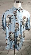 Batik Bay Men's Short Sleeved Button Front Blue Hawaiian Pring Shirt XXL