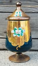 Vintage Apothecary Jar Made In Italy Glass Blue Gold Gilt Handpainted Floral