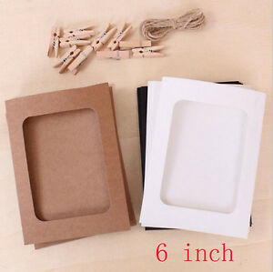 10X Paper Photo DIY Wall Art Picture Hanging Album Frame With Hemp Rope Clips