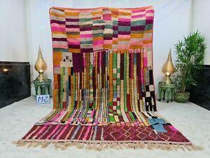 "Moroccan Boujaad Handmade Rug 6'4""x10'2"" Berber Patchwork Orange Pink Wool Rug"