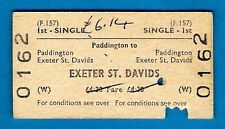 Railway Ticket ~ BR(W) 1st Single - Paddington to Exeter St Davids: F157 - 1974