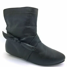 WOMENS LADIES FLAT PULL ON CHELSEA ANKLE BOOTS RIDING KNITTED SHOE SIZE FB-506