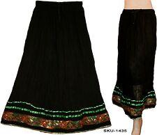 Ethnic Indian Rajasthani Banzara Crinkle Long Skirt Belly Dance Black-1435