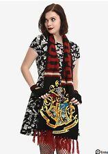 NEW Harry Potter Hogwarts Crest Scarf Comfy Burgundy Fringe