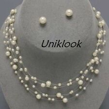 Ivory-Color Pearl Illusion Wire Row Necklace Set Bridesmaid Prom Bridal Jewelry