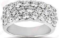 3 row Round Diamond Wedding Ring 18k Gold Anniversary Band 0.15 ct each 2.85 tcw