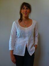 Vintage retro true 1990s 12 M white cotton long top blouse Le Lis Blanc