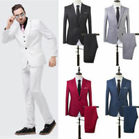 Men S Solid Suit Slim Fit Formal Two Piece Coat Pants Trousers Wedding Groom Uk Ebay