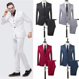 Mens Formal Suit Slim Fit Tuxedo Blazer Coat Pants Business Formal Wedding Groom