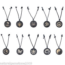 Round Black Yak Bone Carving Totem Pendant Leather Necklace Talismans Jewelry