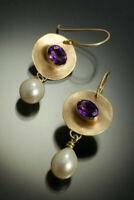 Vintage 925 Silver Earrings Women Ear Hook Dangle Drop Jewelry Pearl Gorgeous