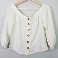SPORTSGIRL | Womens Off Shoulder Linen Blend Top NEW [ Size AU 8 or US 4 ]