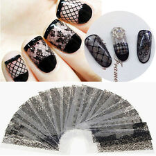 20Pcs/Set Black Lace Flower Nails Transfer Foil Beauty Nail Art Stickers Decals