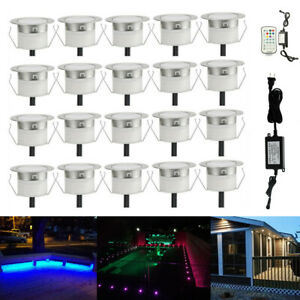 20PCS 45mm RGB+Warm White 2in1 Yard Stair Soffit LED Pool Decking Kitchen Lights