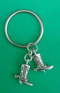 Tibetan Silver COWBOY/WESTERN BOOTS Keyring/Bag Charm. Present/Gift.