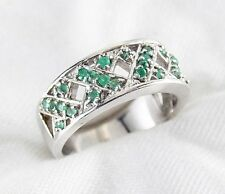 Genuine Green Emerald Ring .60ct in 925 Sterling Silver Size 8 List $360