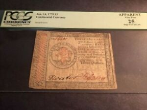 Continental Currency Jan.14, 1779 $3 APPARENT VERY FINE 25