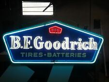 "Old B.F. Goodrich Tires Batteries Porcelain Sign with Neon 60""W x 26""H - SSPN"